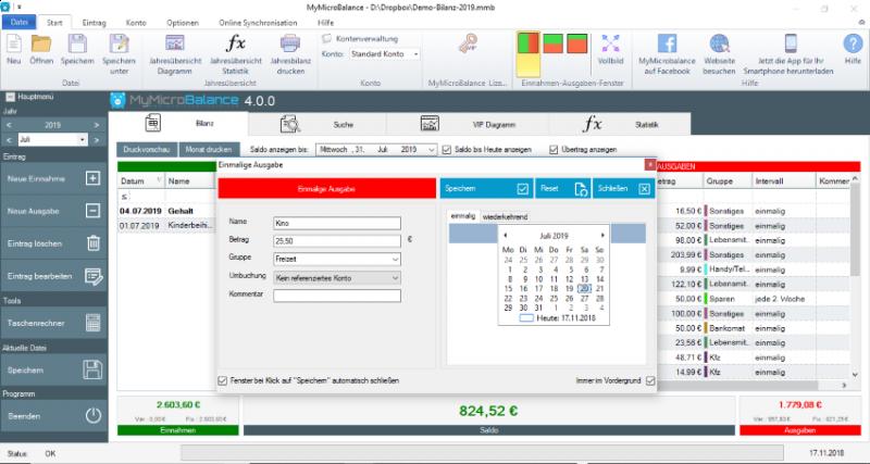 Screenshots Haushaltsbuch